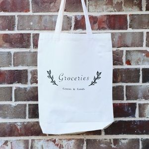 White Tote Bag- Groceries Tote Bag- Canvas